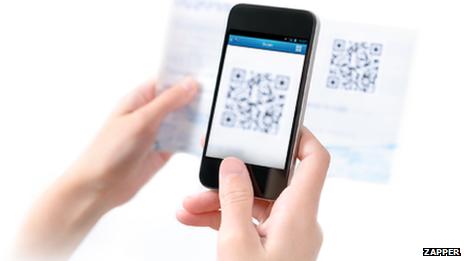 Smartphone capturing a QR code