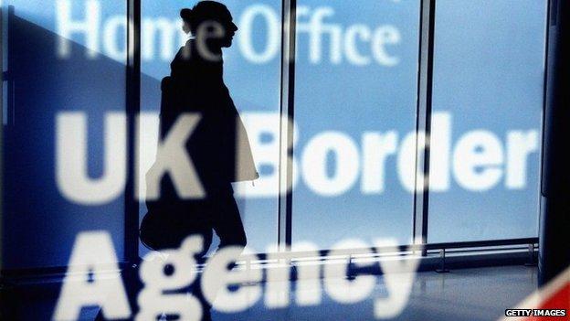 Woman walking through customs