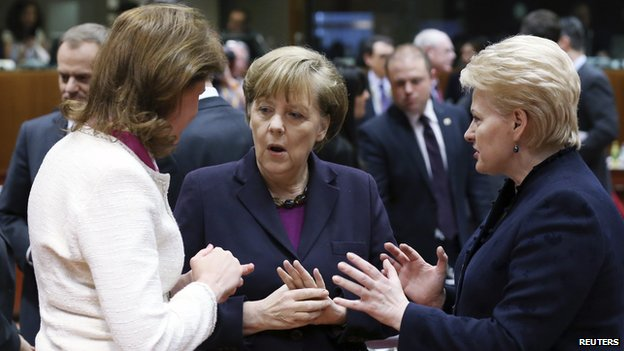 Slovenia's Prime Minister Alenka Bratusek, Germany's Chancellor Angela Merkel and Lithuania's President Dalia Grybauskaite attend a European Union leaders summit in Brussels (March 20, 2014)