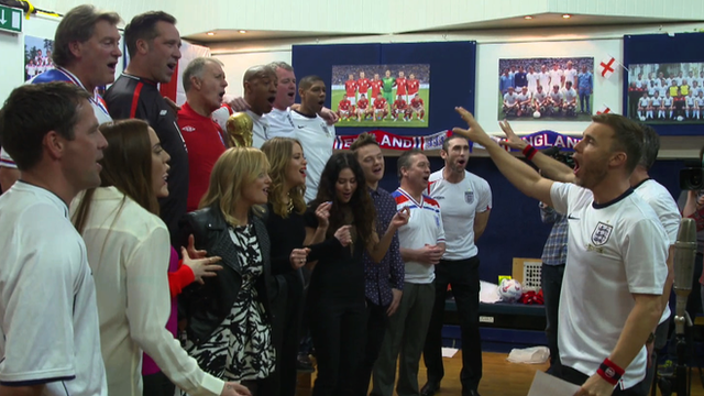 Gary Barlow leads the chorus for the England World Cup song
