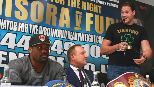 Dereck Chisora and Tyson Fury at their press conference