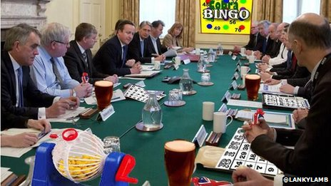 An mocked-up image of senior Conservatives playing bingo