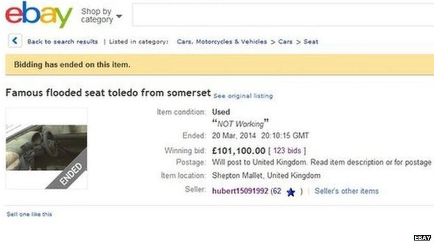 The car sold for £101,100