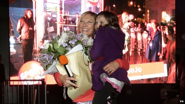 Jo Whiley celebrates with her daughter