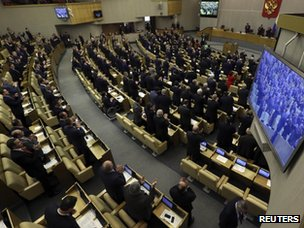 Russian deputies applaud during voting in the Duma, Russia's lower house of parliament, in Moscow on 20 March 2014.