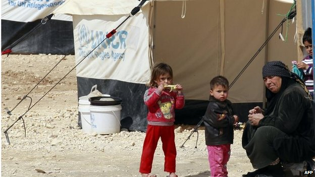 Woman and children in Zaatari refugee camp (file photo)