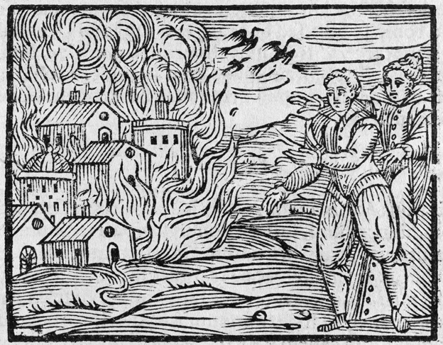 17th century woodcut illustration depicting two witches setting fire to a town. This illustration comes from 'Compendium maleficarum' by Maria Guazzo, published in Milan in 1626.