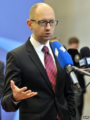 Ukrainian Prime Minister Arseniy Yatsenyuk holds a press conference at the EU headquarters in Brussels on 21 March 2014