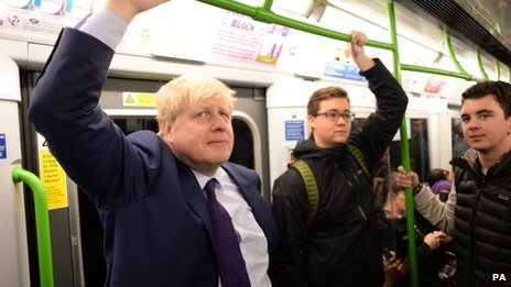 Boris Johnson travelling on the London Underground