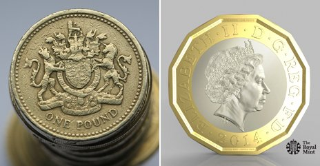 The old pound coin and the new 12-sided one