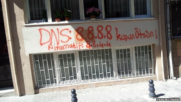 A wall in Istanbul that had DNS details spray painted on to it