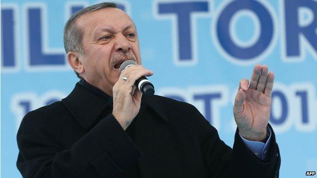 Turkish Prime Minister Recep Tayyip Erdogan speaking in Ankara (file photo - 13 March)