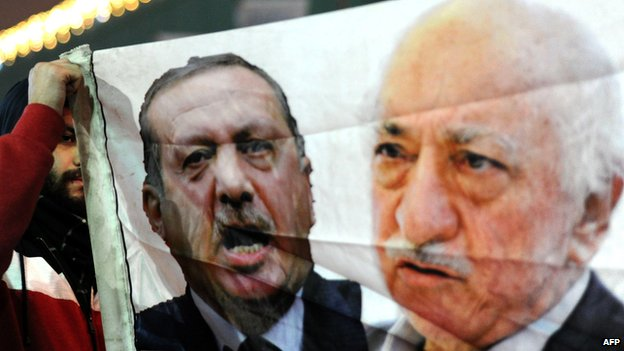 Protester holds banner showing Turkish PM Erdogan and US-based cleric Fethullah Gulen (file photo - December 2013)