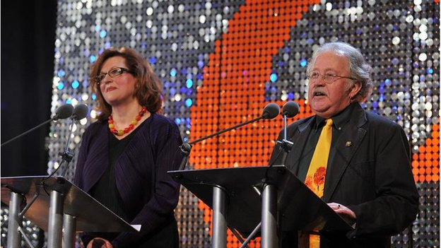 Barbara with Mike Harding at the BBC Radio 2 Folk Awards in 2011