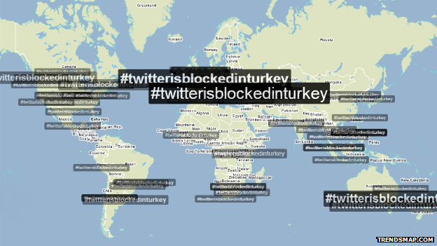 A map showing where tweets including #twitterisblockedinturkey was trending around the world