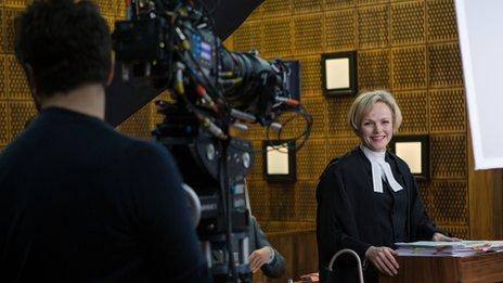 Maxine Peake being filmed for Silk