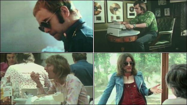 Elton John, Bernie Taupin, Gus Dudgeon and Davey Johnson