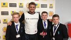 Stoke Damerel Community College's School Reporters with Exeter Chiefs captain Dean Mumm