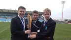Stoke Damerel Community College School Reporters holding the LV=Cup
