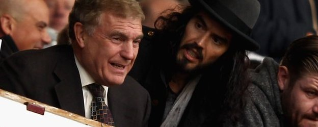 Sir Trevor Brooking and Russell Brand