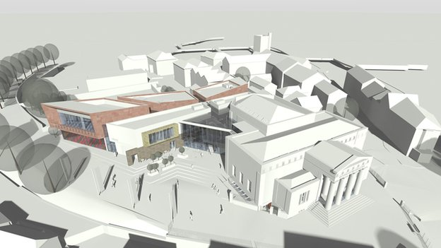 Artist's impression of aerial view of the cultural hub project