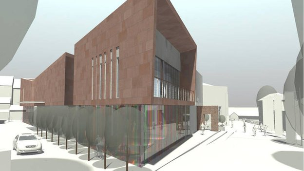 Artist's impression of aerial view of the cultural hub project along Captain's Walk