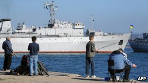 "Ukraine's warship ""Slavutych"" is blocked in the Sevastopol harbour"