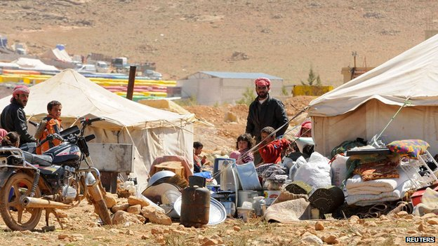 Syrian refugees in Arsal on Lebanese side of border on 20 March 2014