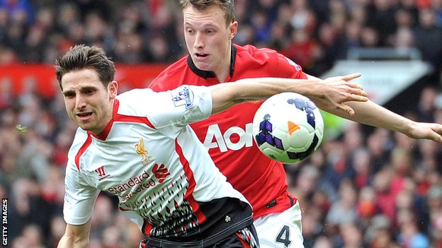 Joe Allen in action against Manchester United