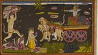 A demon, Indrajit, fires arrows and wounds Hanuman in a night battle.