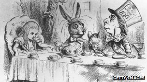 Illustration from first edition of Alice in Wonderland showing Alice, the March Hare and the Mad Hatter