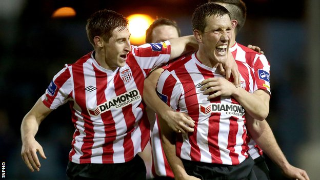 Cliff Byrne (right) is congratulated after his Derry equaliser at United Park
