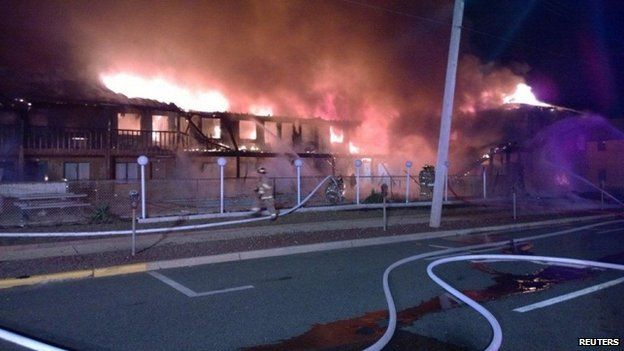 Fire at the Mariner's Cove Inn in New Jersey on 21 March 2014