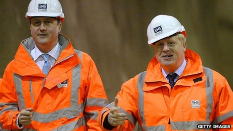 David Cameron, Boris Johnson at Crossrail site in London on 16 January 2014