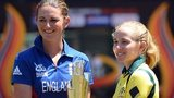 England captain Charlotte Edwards and injured Australia captain Jodie Fields with the trophy in 2012