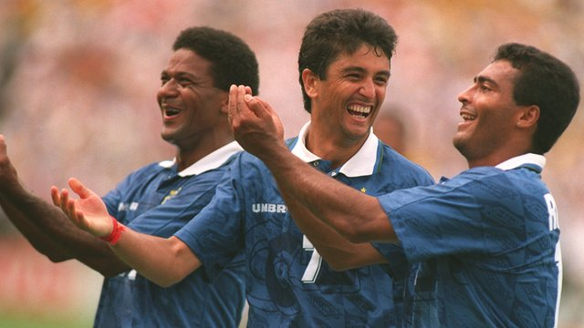Bebeto and two Brazilian team-mates celebrate against Netherlands