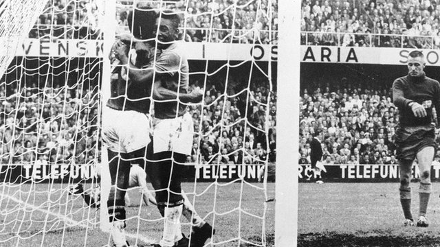 Pele and Vava celebrate as Brazil beat Sweden in the 1958 World Cup final