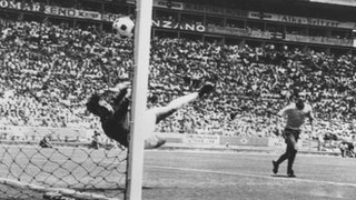 England's Gordon Banks makes a wonder save from Brazil's Pele