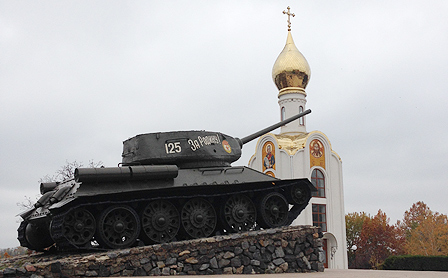 Monument and church in Tiraspol