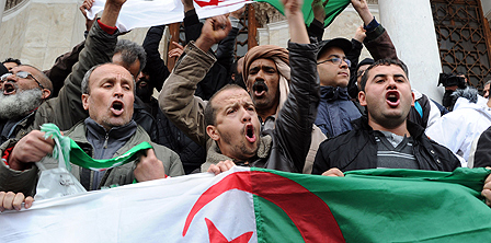 Anti-Bouteflika demonstrators in Algeria in 2014