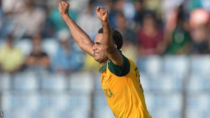 Imran Tahir celebrates