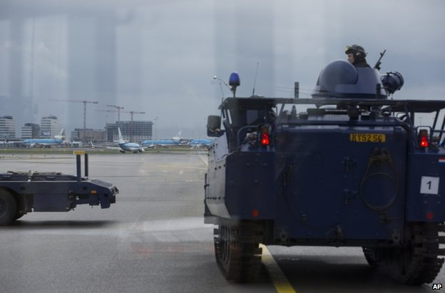Dutch military police at Amsterdam's Schiphol airport, 22 March