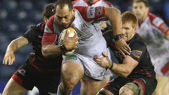 Ulster prop John Afoa drives forward against Edinburgh