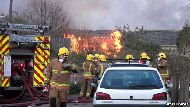 Fire at old mushroom farm at Martham