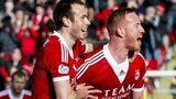 Andy Considine and Adam Rooney celebrate Rooney's equaliser against Kilmarnock