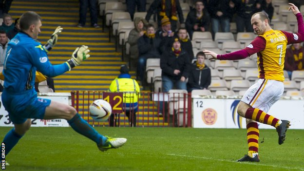 James McFadden opens the scoring at Fir Park