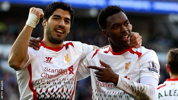 Luis Suarez and Daniel Sturridge celebrate at Cardiff
