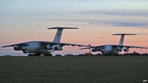 Two Chinese Ilyushin IL-76 aircraft on the tarmac at RAAF Pearce base ready to join the search for missing Malaysia Airlines flight MH370 22/03/2014
