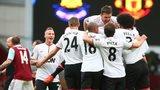 Manchester United celebrate scoring against West Ham United