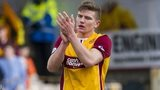 Shaun Hutchinson applauds the Motherwell support after the 2-1 win over Ross County